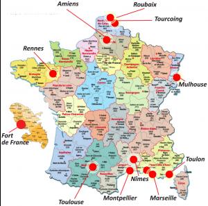 Les différents sites où sont expérimentées les Tables de Quartier en France